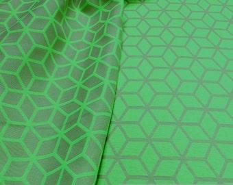 Fabric polyester cotton Jacquard diamond green neon green