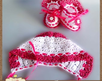 "Set ""Song"" for girl 0-3 months (cap and booties)"