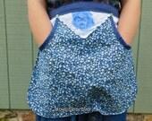 Clothespin apron, retro apron, handmade apron, floral apron, apron, half apron, gathering apron, harvest apron, farm apron, blue rose apron,