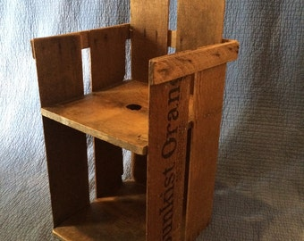 Vintage Child's Chair from Sunkist Orange Crate/Vintage Wood Crate