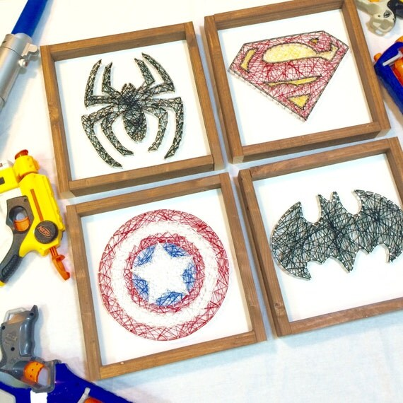 Marvel Wood Wall Decor : Items similar to superhero string art wooden framed signs