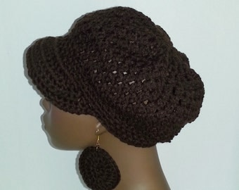 Crochet Newsboy Hat with Earrings, Chocolate Brown Newsboy Hat, Women's Winter Hat, Crochet Hat with Visor, Brown Newsboy Cap with Earrings