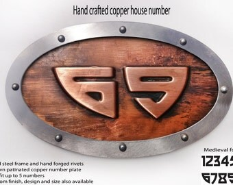 Copper logo, copper sign, metal sign, hand forged steel rivets, riveted signs, metal signs,