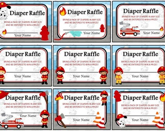SALE!! ** 1.99 ** Firefighter Firetruck Fireman Diaper Raffle Ticket, Tent Cards & Food Table Sign Printable - Instant Download