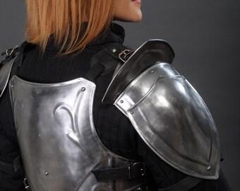 "Larp Galadriel Medieval Elf Fantasy Costume elven steel armor: a pair of shoulders ""Forest Soul"""