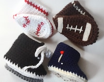 Sports Baby Shoes Combo Pack - Pick Two Sports Baby Booties - Sports Baby Shoes - Sports Theme Baby Shower - Crochet Baby Shoes - Baby Gift
