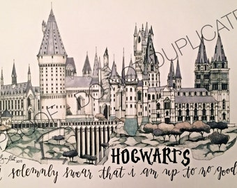 Harry Potter Hogwarts Ink Drawing with Custom Quote