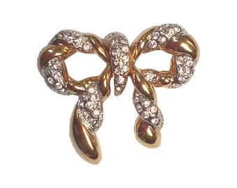 Vintage Gold-tone and Rhinestone Bow Brooch