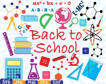 Back to School Cutting Files SVG Cutting files clipart Silhouette Welcome Back School education Vinyl eps png dxf jpg Vector -358s