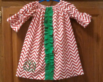 Monogrammed Peasant Dress for Baby/Toddler/Girls, Girls Christmas Dress, Baby Christmas Dress, Toddler Christmas Dress