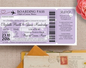 Boarding Pass Wedding Invitation in Pastel Purple Lilac Lavender with Envelopes