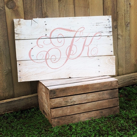 Items similar to rustic large nursery monogram initials for Signs for little girl rooms