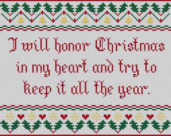 """Christmas cross stitch. """"I Will Honor Christmas"""". Modern cross stitch. Dickens quote. A Christmas Carol. book quote. PDF instant download"""