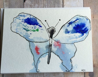 Watercolor Butterfly Card, Hand Painted Butterfly Card, Watercolor Butterfly, Homemade Card, Butterfly Greeting Card