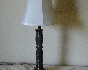 Wooden lamp vinegar painted in black and white