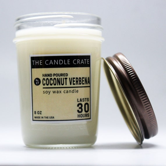 Coconut Verbena 8 Ounce Soy Wax Candle By TheCandleCrate
