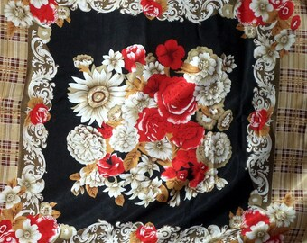 """SALE Silk Scarf Nova Check Floral Roses Blanket Shawl 38"""" New Camel jewel Classic Red Black Rolled Wall Art Prop Gift, Check Scarf, Shawl"""