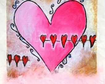 Pink heart, girls pink heart, pink heart print, girls print, girls heart print, pink print, pink collage, girls collage, pink heart collage