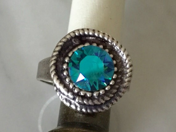 Swarovski Indicolite Ring, Indicolite Crystal Ring, Indicolite Crystal Rope Ring, Swarovski Blue Crystal Ring, Indicolite Glacier Blue Ring