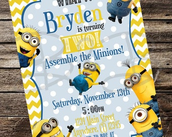 Minion Invitation. Minion Party Invitation. Minion Birthday