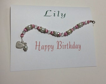 Personalized Card with bracelet gift happy birthday