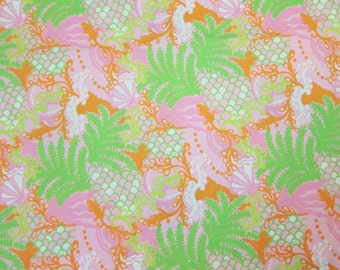 """1 Yard 36"""" x 57"""" Lilly Pulitzer Cotton Sateen Fabric """" Checking In  """""""