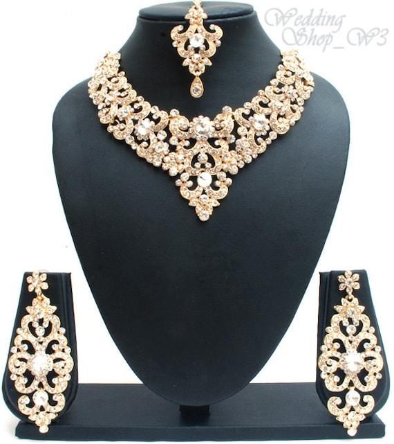 Elegant Bridal Set Heavy Gold Plated Diamante Crystal: Elegant Gold Plated Crystal Diamante Vintage Bridal Set Indian