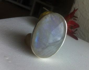 Rainbow Moonstone Ring Size 7 Moonstone Ring 925 Silver Ring Bezel Set Moonstone Ring Big Oval Moonstone Ring Blue Flash Moonstone Ring