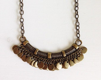 Bronze boho bib necklace, mid-century modern, brass