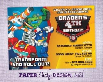 Rescue Bots Birthday Party Invitation, Rescue Bots Party Invitation, Rescue Bots Digital Invitation, Rescue Bots Printable Invitation