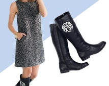 Monogrammed Brooklyn Boots - Perfect for any Occasion! Black or Brown - Custom Monogram!