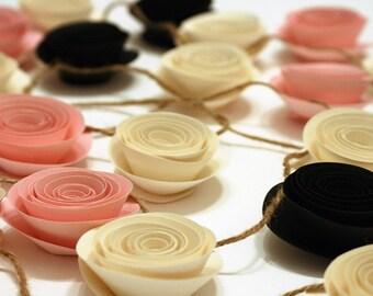 Paper Flower Garland - Shower Garland - Wedding Garland - Flower Garland - Paper Rose Garland - Party Garland - Smash Cake Garland