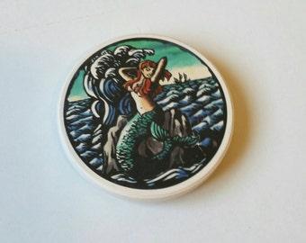 Mermaid Magnet, Beach Magnet, Nautical Magnet, Ocean Magnet, Beach Kitchen, Nautical Kitchen, Refrigerator Magnets