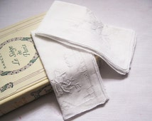 1800s Handkerchiefs Antique French Exquisitely Hand Embroidered and Hand Stitched 1800s in delicate Muslin Lace.