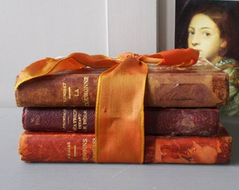 3 Old French Library Books Leather Bound Marbled Cover