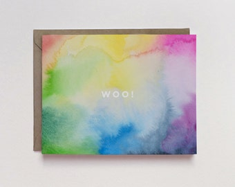 Watercolor Woo! A2 Greeting Card