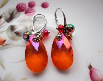 Swarovski crystal earrings crystal drops orange pendant earrings sterling silver dangle earrings elegant earrings