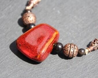 ethnic / Nature Necklace, linen, ceramic, ebony wood, coppered metal