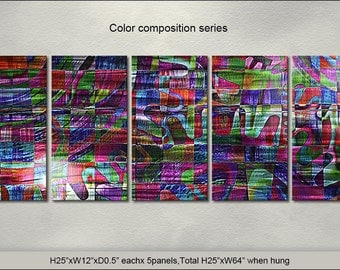 """Original Special Metal Wall Art Modern Abstract Painting Sculpture Indoor Outdoor Decor by Artist """"Color composition series"""""""