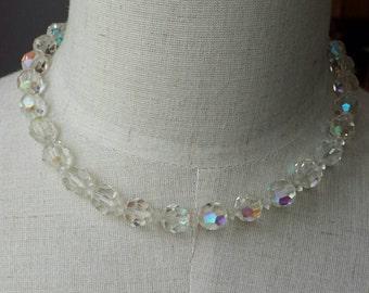 Vintage Aurora Borealis Necklace-Single Strand-AB Necklace