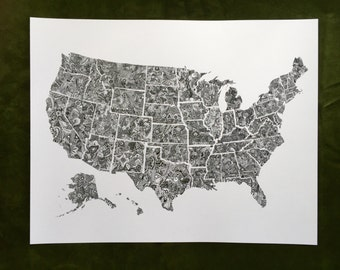 NEW • 50 States Map Zentangle Art Print -11x14in Matte Cardstock