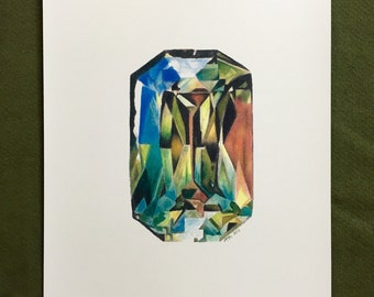Sapphire Facet Gemstone September Birthstone Art Print