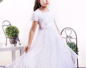 communion dress with lace-Communion dress in the Empire style-white girl dress