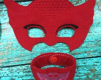 PJ Owlette Mask & Wrist Band Set for Kids Dress Up, Costume, Pretend Play
