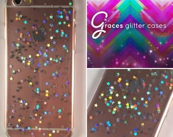 Millennium Star - Silver holographic stars - Brandy Melville - iPhone 7 6 plus 6s SE 5s 5c 5 4 Samsung S3 S4 S5 S6 S7 Edge - glitter iphone