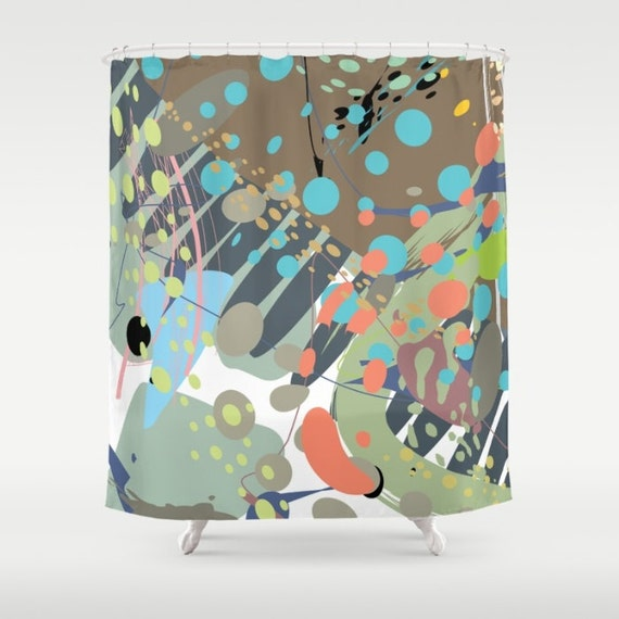 shower curtain modern abstract art contemporary bathroom. Black Bedroom Furniture Sets. Home Design Ideas