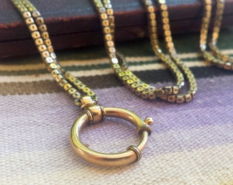 Georgian Pinchbeck Box Chain with 14k Large Gold Spring Ring