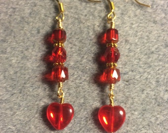 Bright red Czech glass heart bead dangle earrings adorned with red Czech glass beads.
