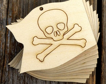 10x Wooden Pirate Flag Craft Shapes 3mm Plywood Skull CrossBones Costume