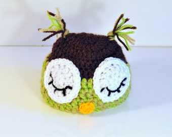 Handmade Baby Sleeping Owl hat, Crochet hat, from 0 to 12 months
